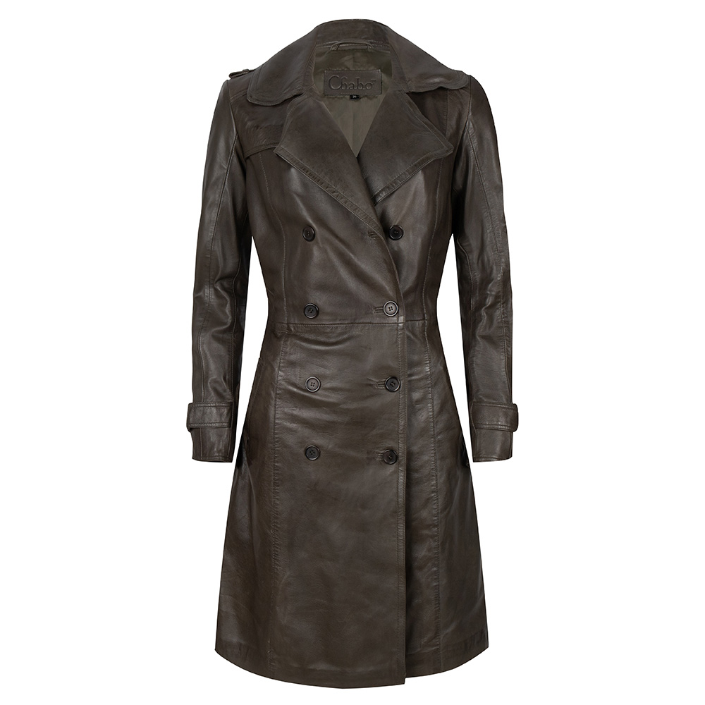 Chabo Bags -Leather Trenchcoat Fabiënne - Olive 36