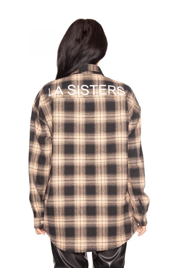 LA_Sisters_Oversized_Checked_Shirt_Beige_Back