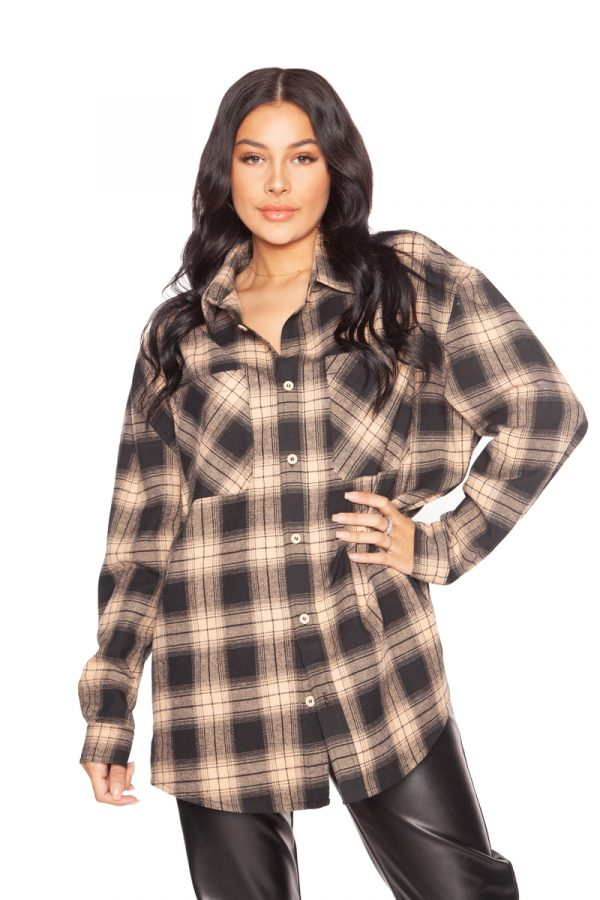 LA_Sisters_Oversized_Checked_Shirt_Beige_Front2