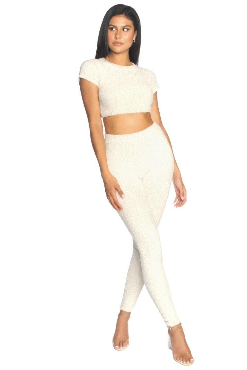 LA Sisters - Fluffy Sporty Two Piece Off-White